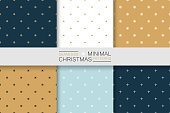 Collection of seamless christmas patterns - minimalistic design. Simple colorful backgrounds