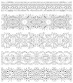 collection of seamless ornamental floral stripes, black and whit