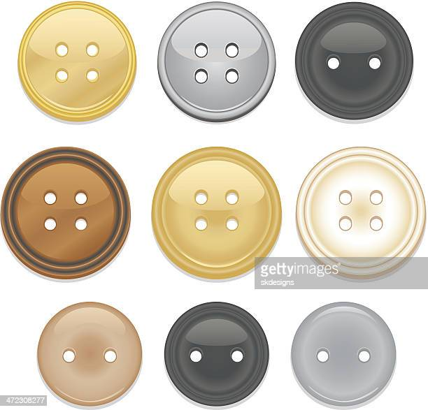 Collection of shiny clothing buttons