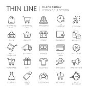 Collection of shopping thin line icons
