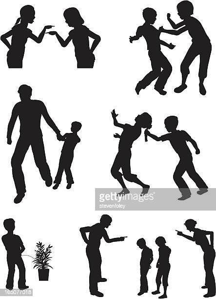 Collection of silhouettes of arguing children