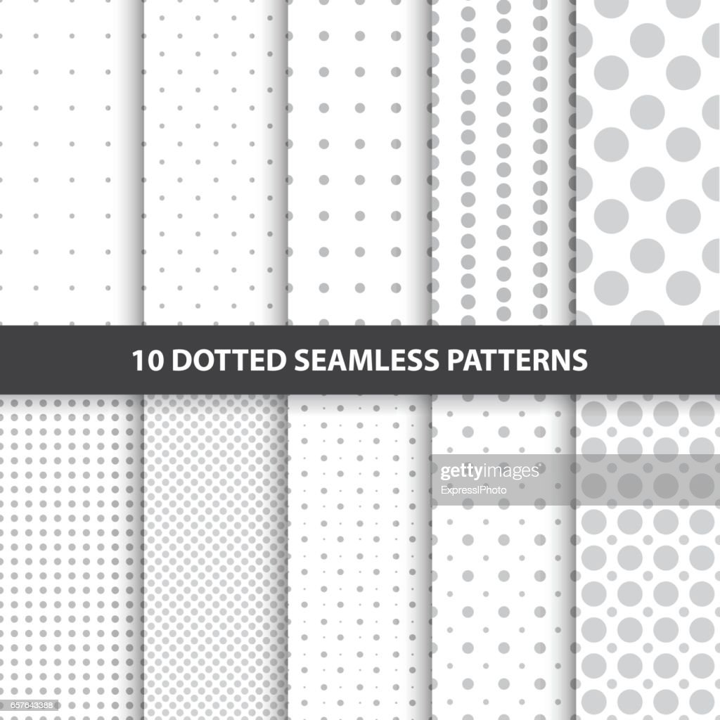 Collection of simple seamless dotted patterns.