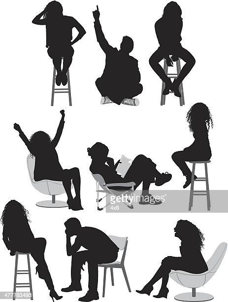 collection of sitting people - stool stock illustrations, clip art, cartoons, & icons