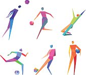 Collection of six polygonal people playing soccer