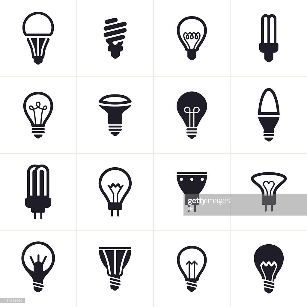 Collection of sixteen black light bulb symbols