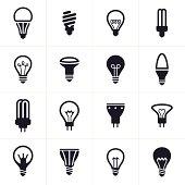 Collection of sixteen black light bulb symbols