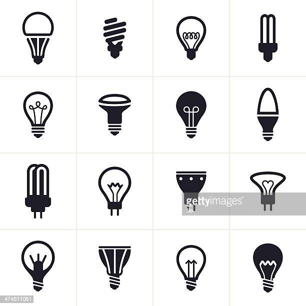 collection of sixteen black light bulb symbols - light bulb stock illustrations