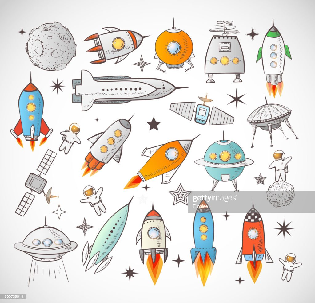 Collection of sketchy space objects isolated on white background..