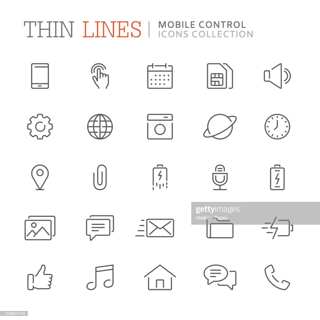 Collection of smartphone related line icons. Vector eps8
