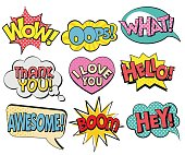 Collection of speech bubbles in retro style
