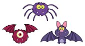 Collection of Spider, Bat, One Eyed Monster