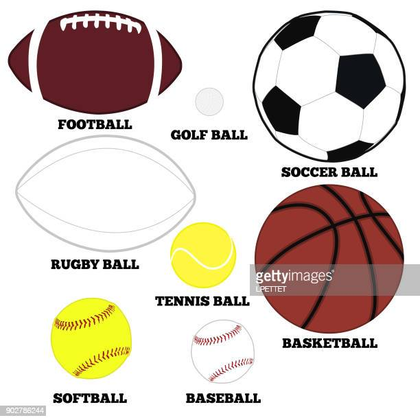 collection of sports balls - rugby ball stock illustrations, clip art, cartoons, & icons