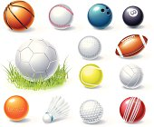 Collection of sports equipment graphics