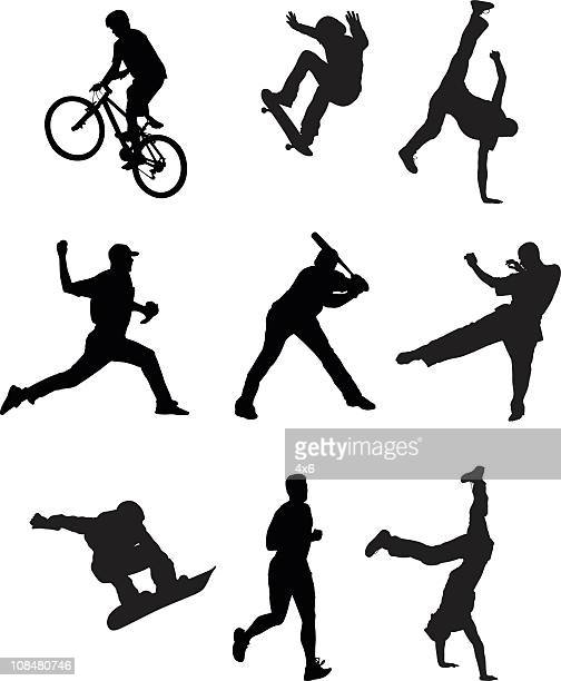collection of sports people - sportsperson stock illustrations