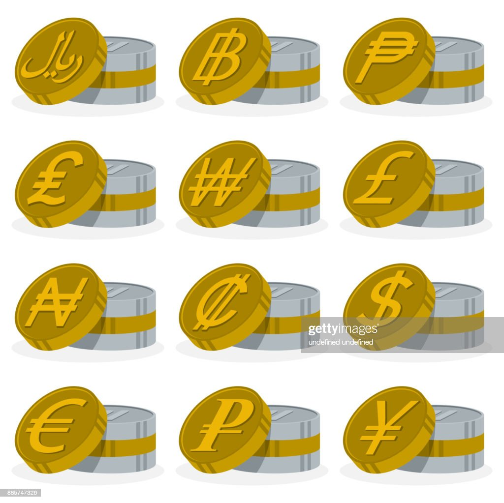Collection Of Stacked Coin Icons With Details Of Currency Symbols