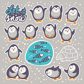 Collection of stickers with cute cartoon funny penguins