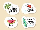 Collection of summer icon with funny text. Vector.