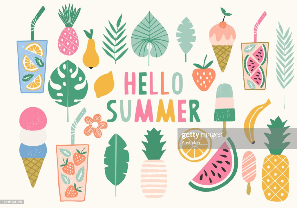 Collection of summer illustration. Ice cream, pineapple, lemonade icons. Vector. Isolated.