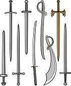 collection of swords, sabers and katana