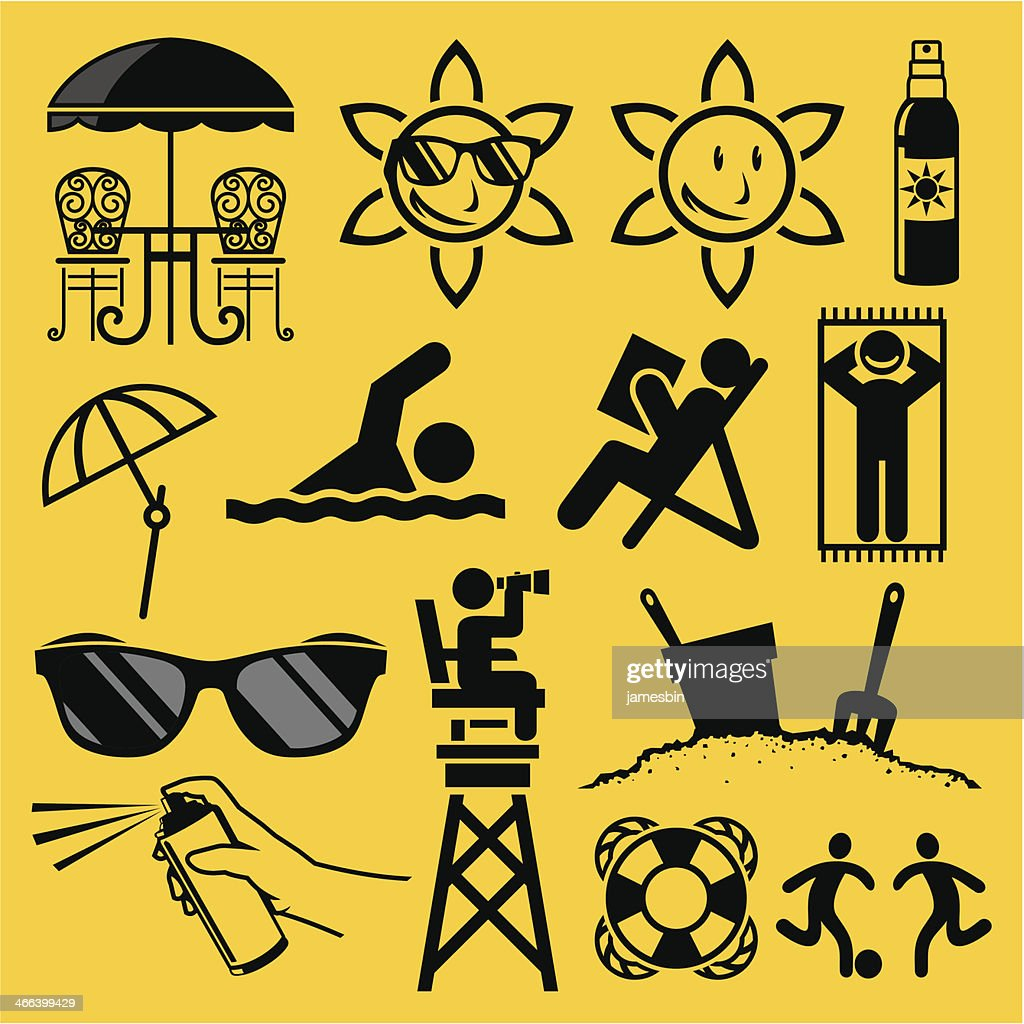 Collection of symbols related to beach on yellow background