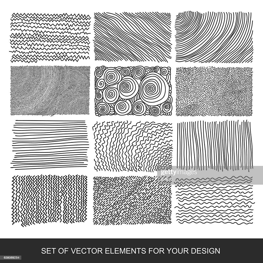 Collection of textures, brushes, graphics, design element. Hand-drawn. Abstract