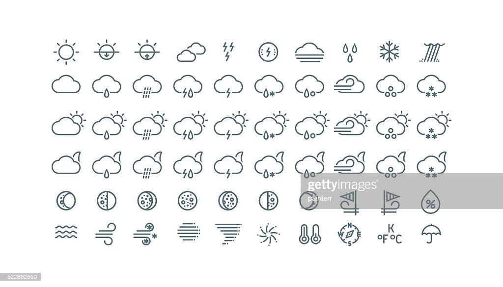 Collection of thin line weather icons isolated on white background.