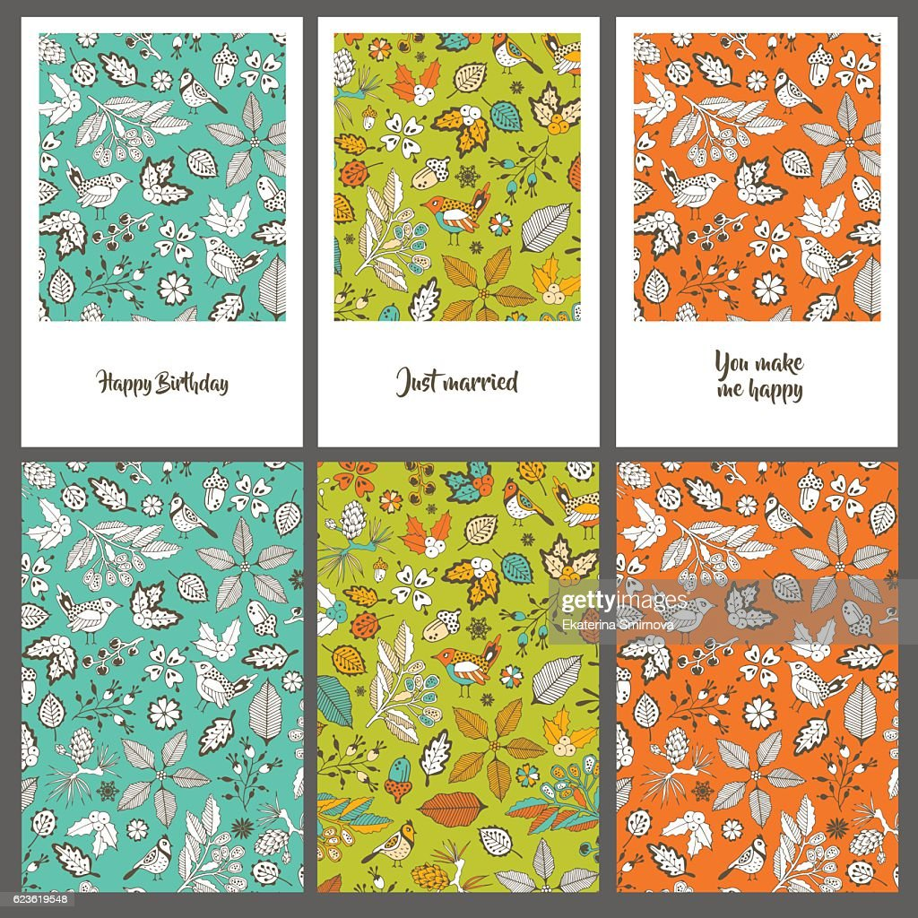 Collection Of Three Greeting Cards Hand Drawing Vector Art Getty