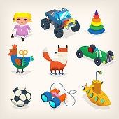 Collection of toys for children games and holiday presents for kids. Isolated vector icons