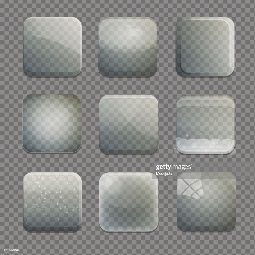 Collection of transparent glass square app buttons