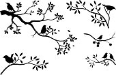 collection of tree silhouette with bird