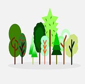 collection of tree vector,cartoon style,nature concept.