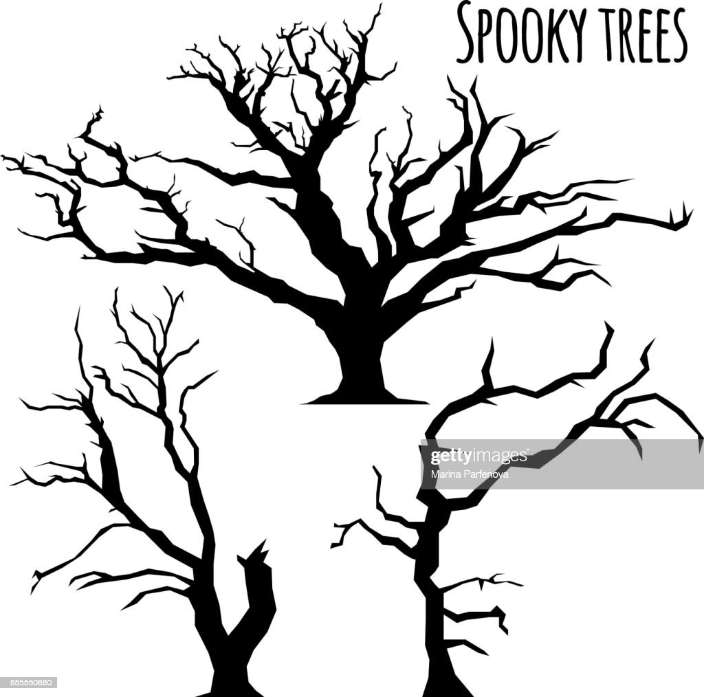 Collection of trees silhouettes on the white background