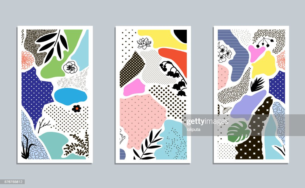 Collection of trendy creative cards with floral elements