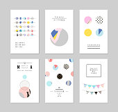 Collection of trendy party cards and invitations  with confetti