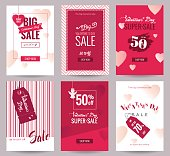 Collection of  Valentine's Day sale flyer templates