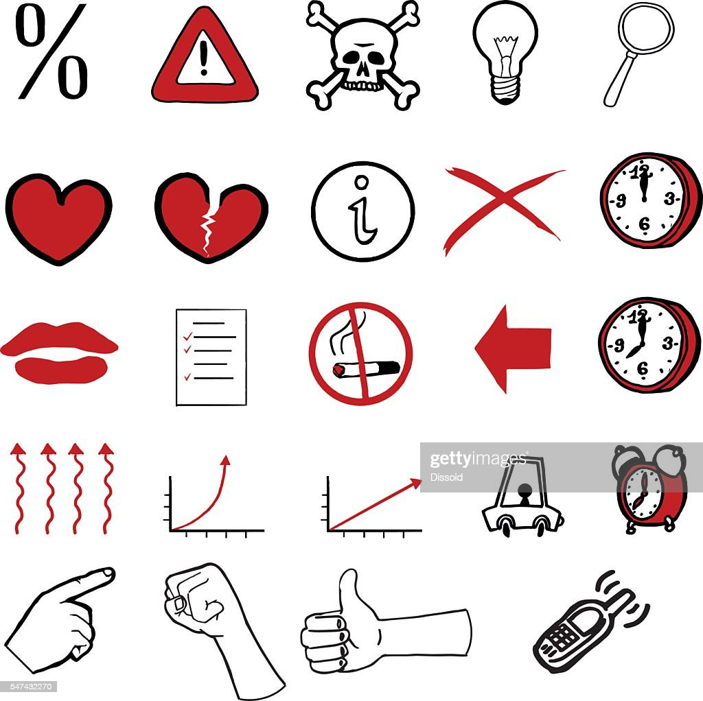 Collection of various doodled icons