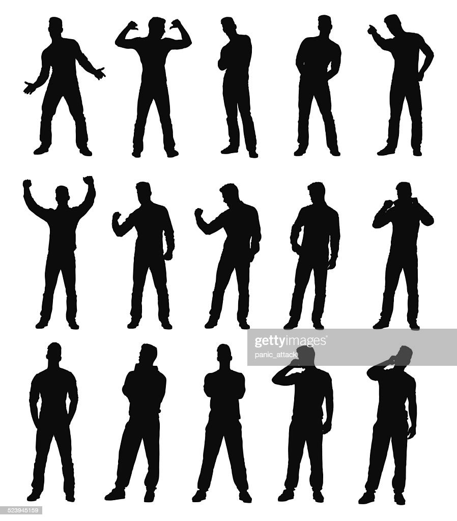 Collection of various man gesture silhouettes