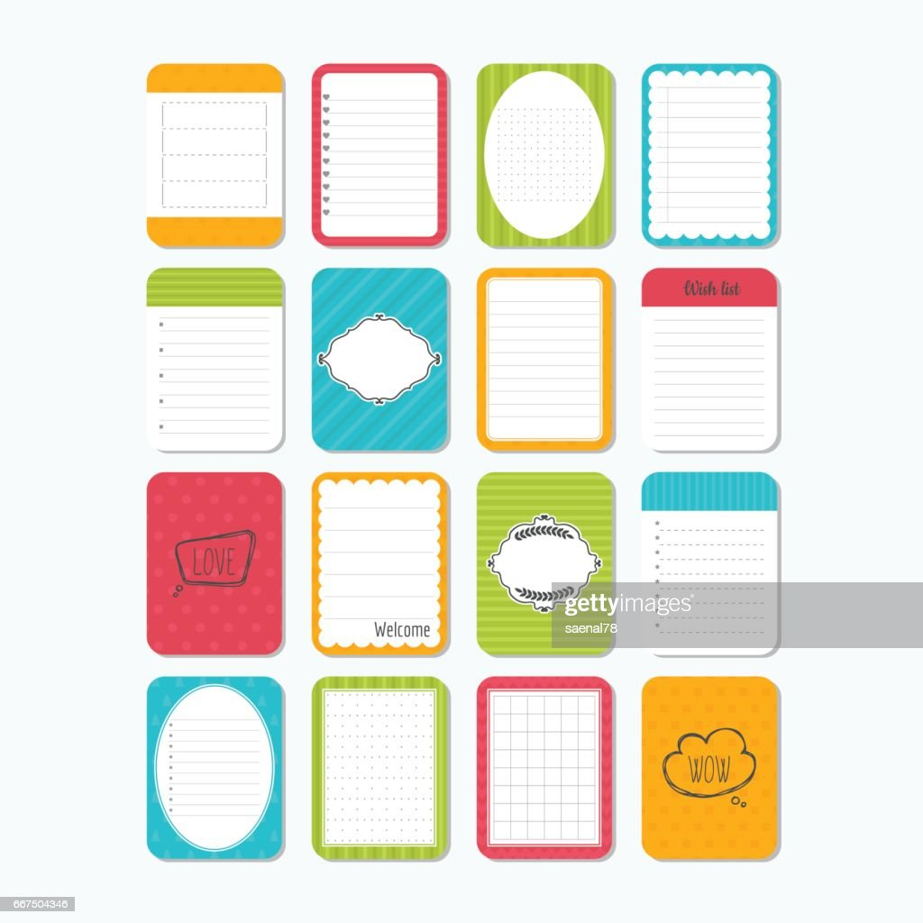 collection of various note papers template for notebooks cute design