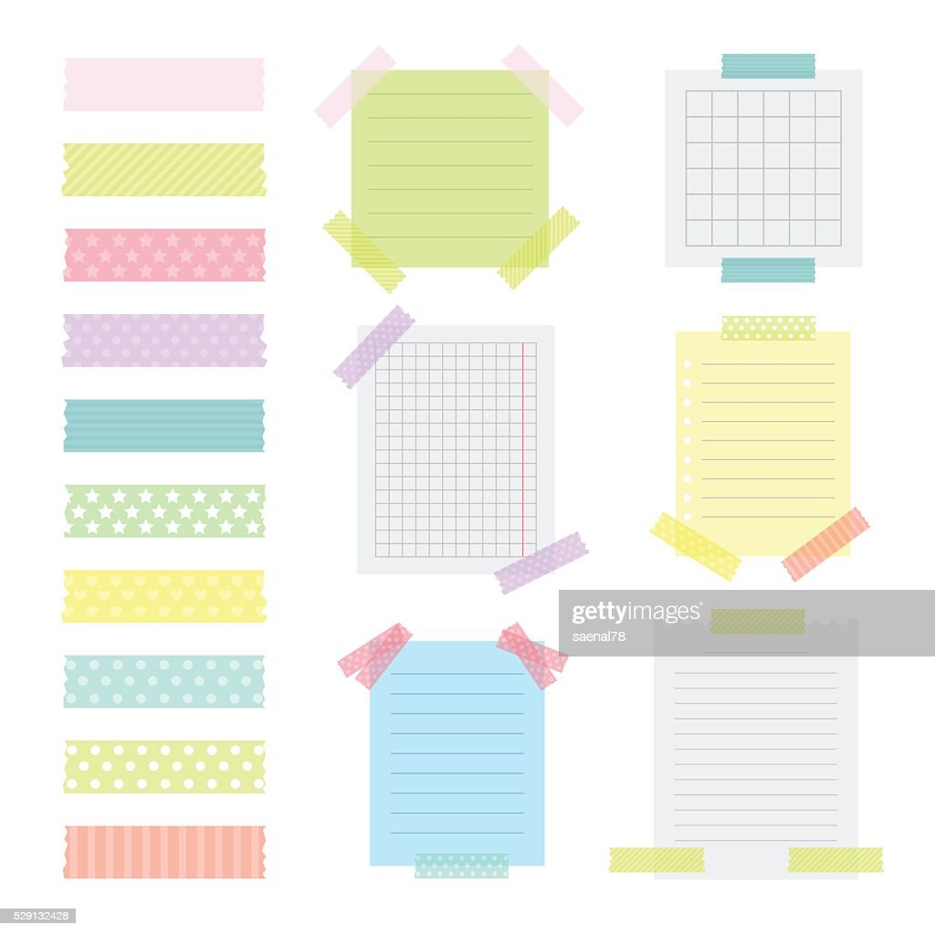 Collection of various note papers with different tape strips