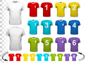 Collection of various soccer jerseys with numbers. The T-shirt i