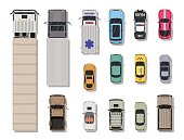 Collection of various vehicles. Top view.