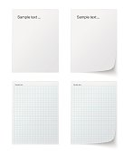 Collection of various white papers, leaves for the label ready for Your message. Vector illustration