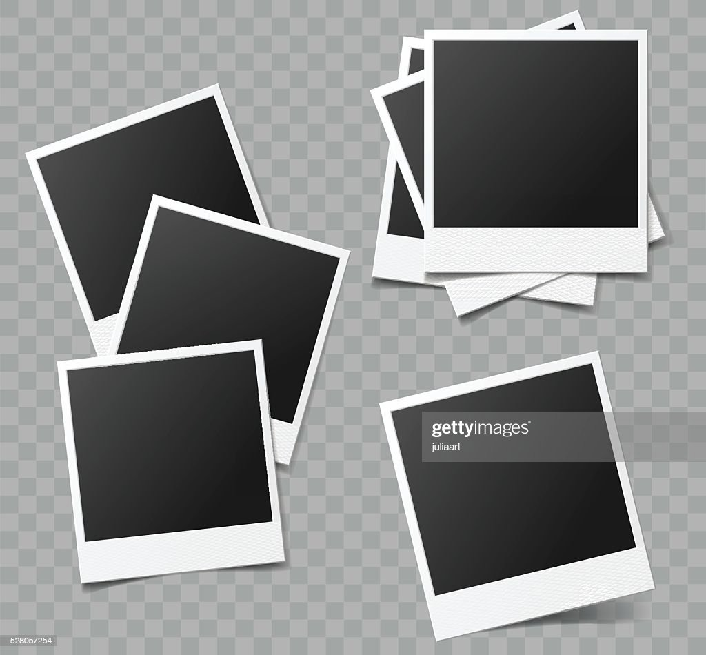 Collection of vector blank photo frames with transparent shadow effects