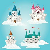 Collection of vector cartoon fairytale castle in clouds