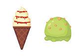 Collection of vector cartoon ice cream illustrations. Summer food.