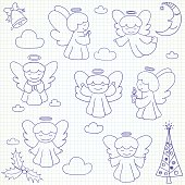 Collection of vector Christmas angels and ornaments in doodle style