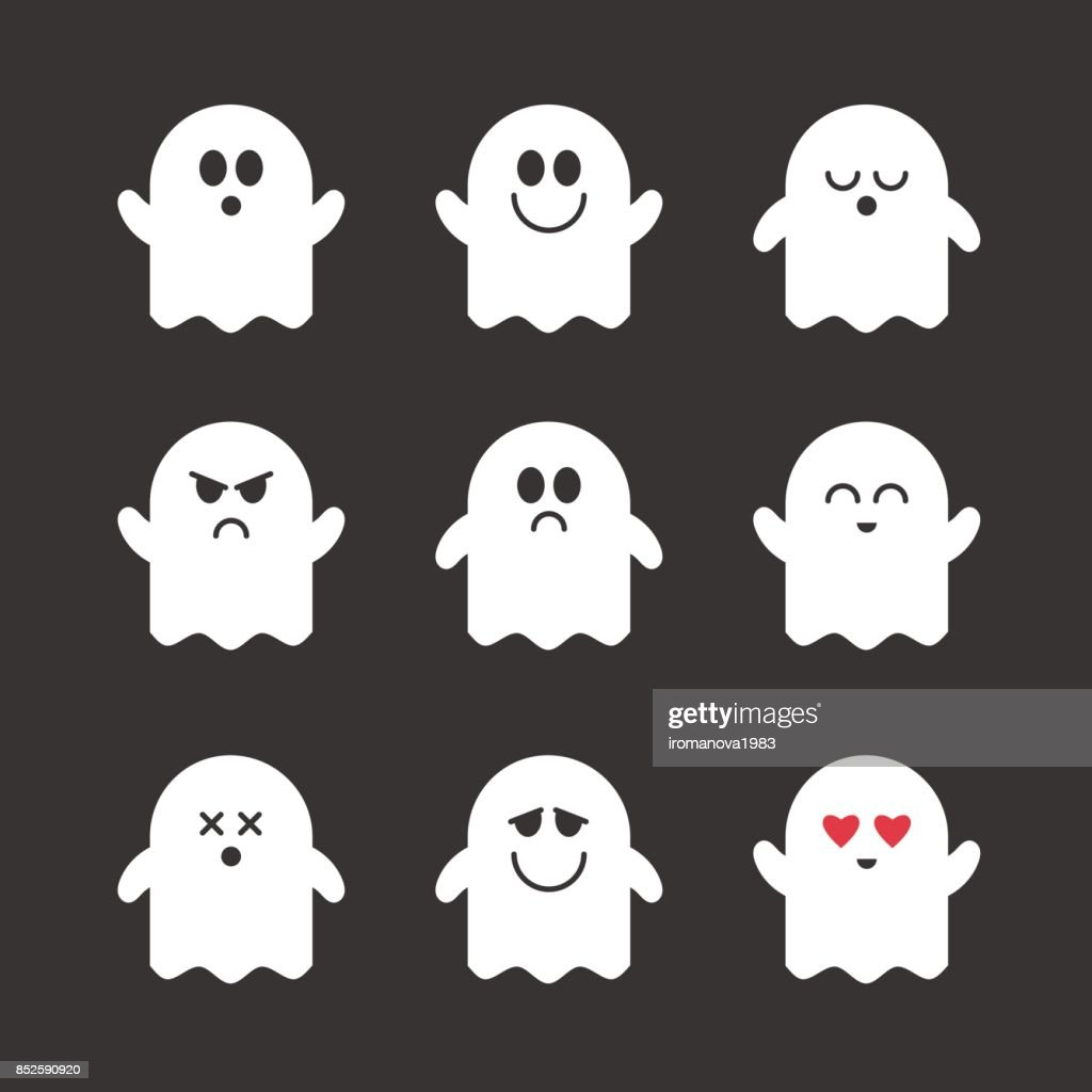 Collection of vector cute ghosts.
