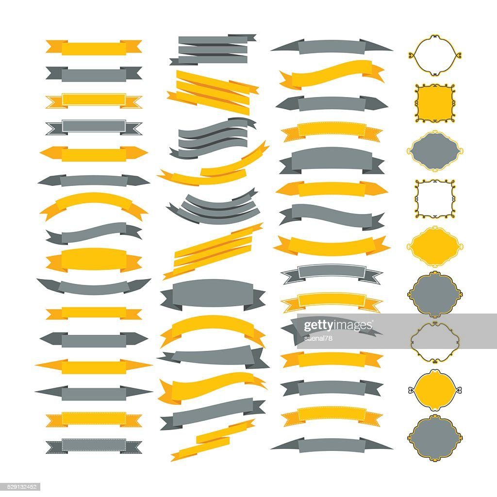 Collection of vector design elements. Big set of frames