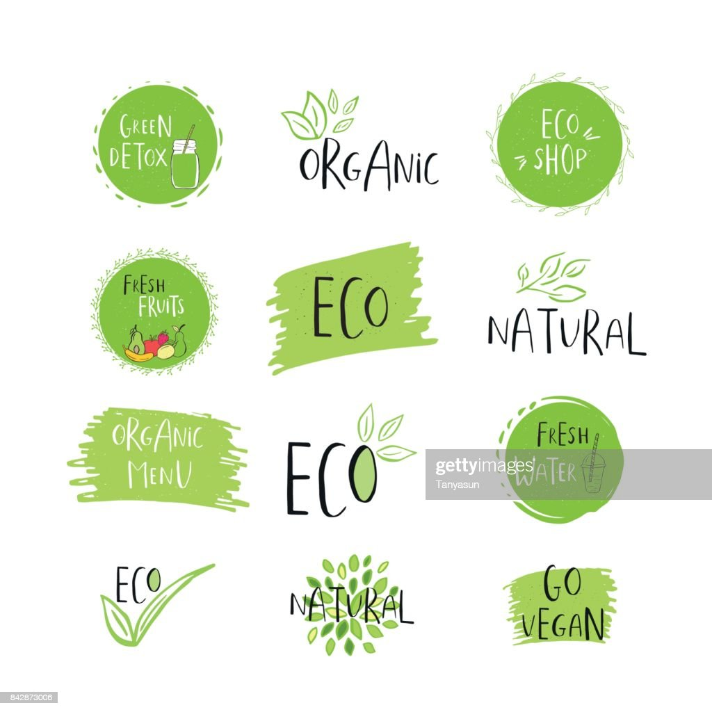 Collection of vector eco, bio green  or sign. Organic design