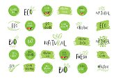 Collection of vector eco, bio green  or sign. Organic design